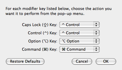 Modifier keys option pane