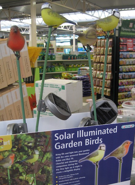 Solar powered illuminated garden birds